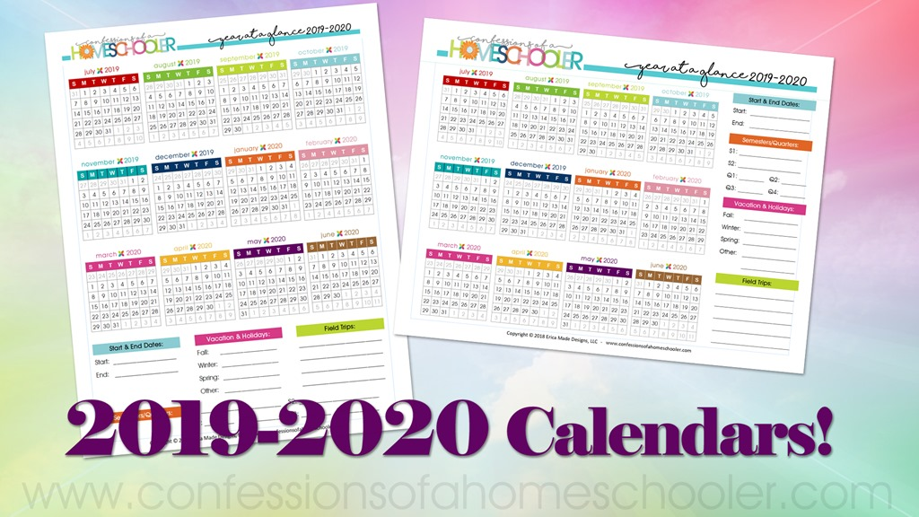 2019-2020 Year at a Glance Calendars