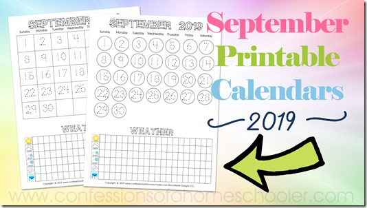 picture relating to Printable September Calendar named September 2019 Printable Calendars - Confessions of a