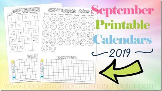 September 2019 Printable Calendars