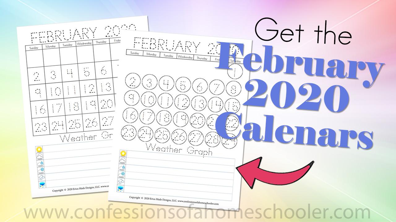 February 2020 Preschool Calendars