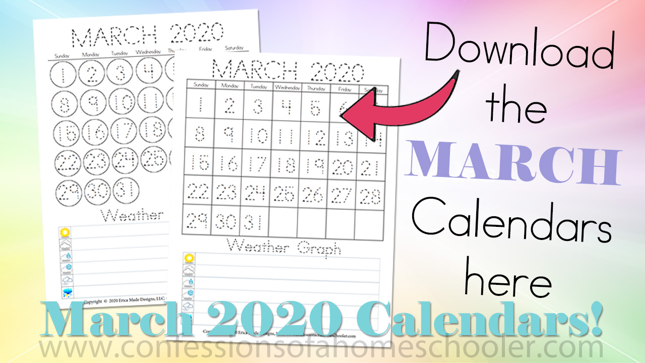 March 2020 Printable Calendars