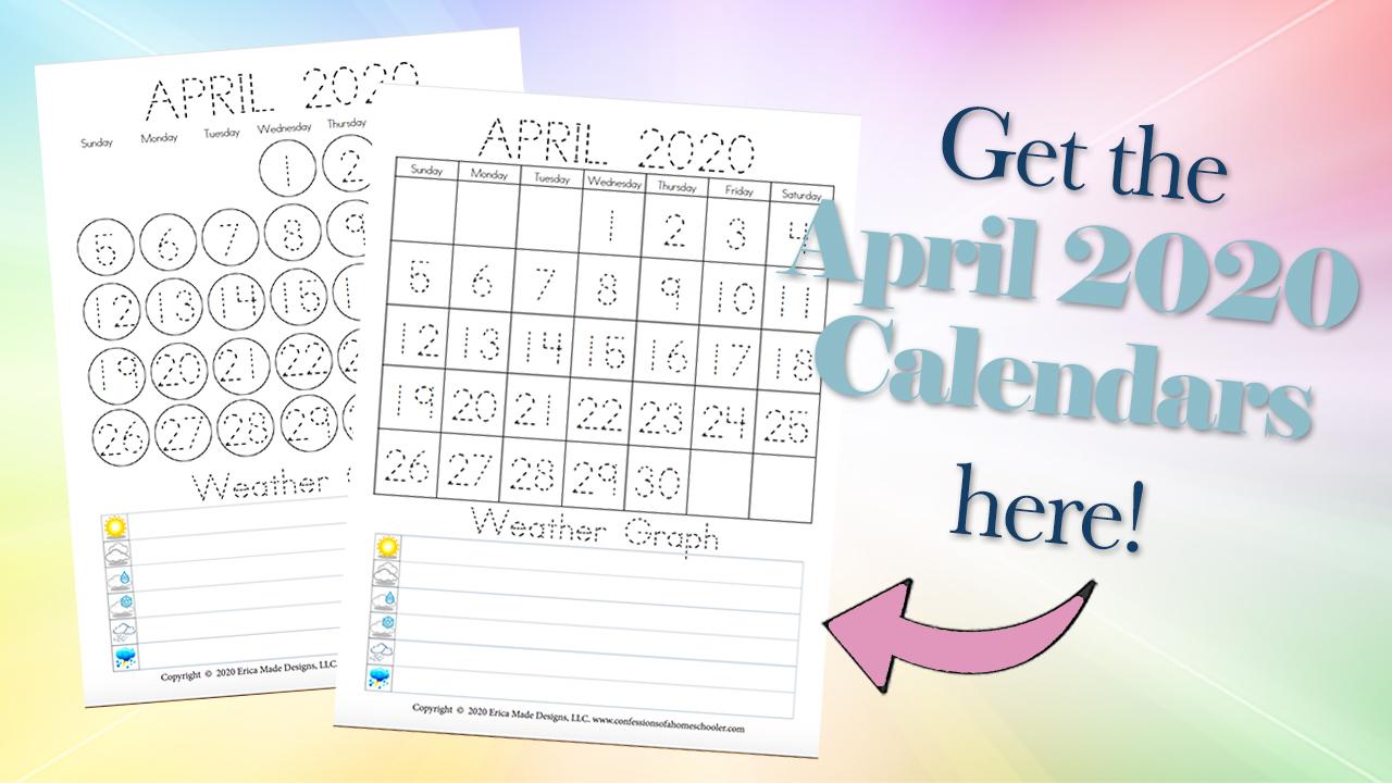 April 2020 Free Printable Calendars