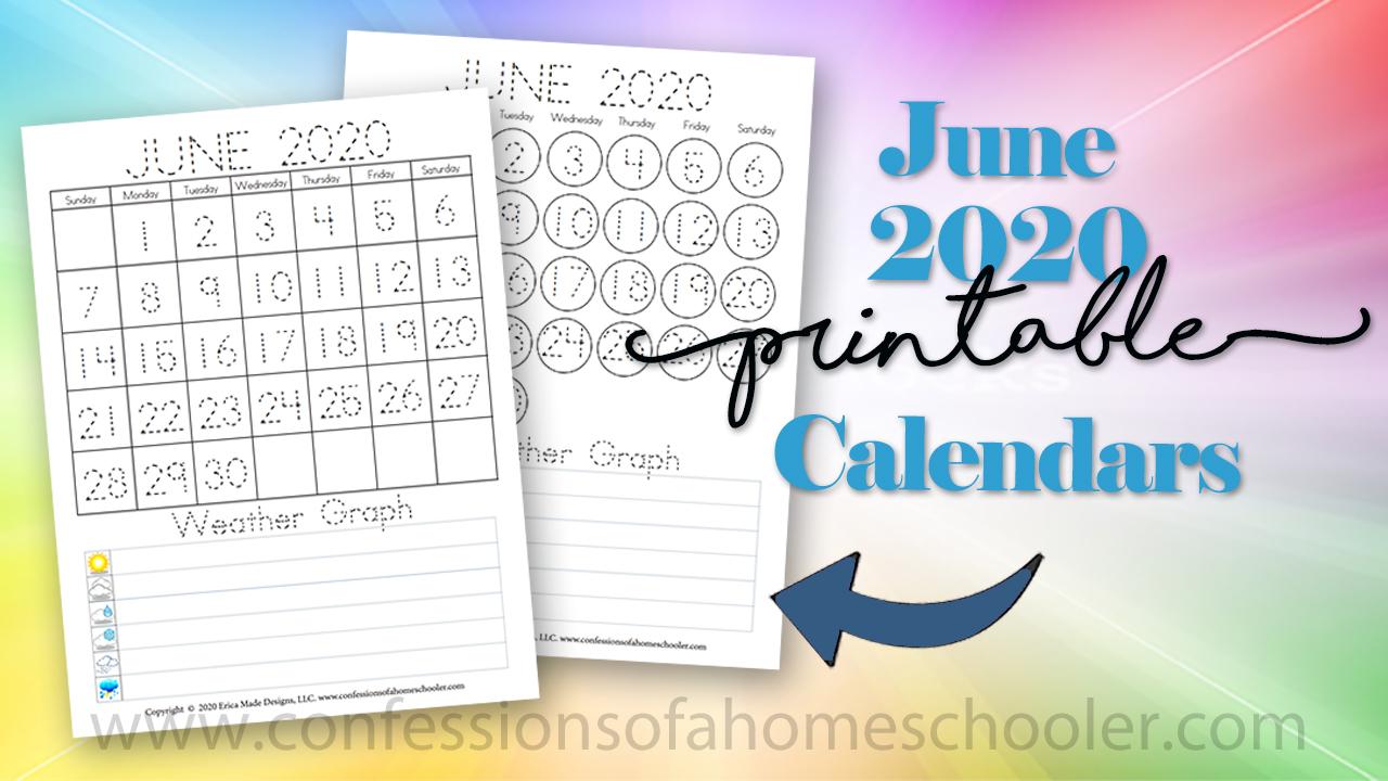 June 2020 Printable Calendars