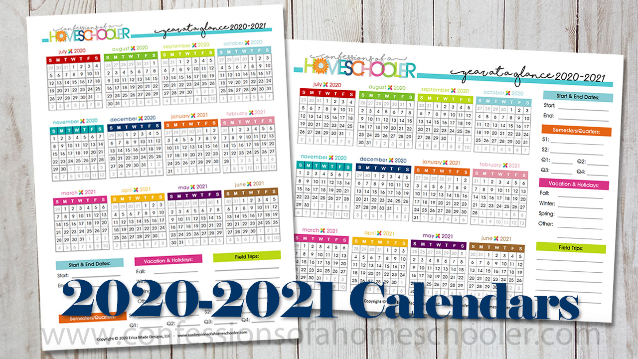 Yearly Calendar 2020 And 2021 2020 2021 Year at a Glance Printable Calendars   Confessions of a