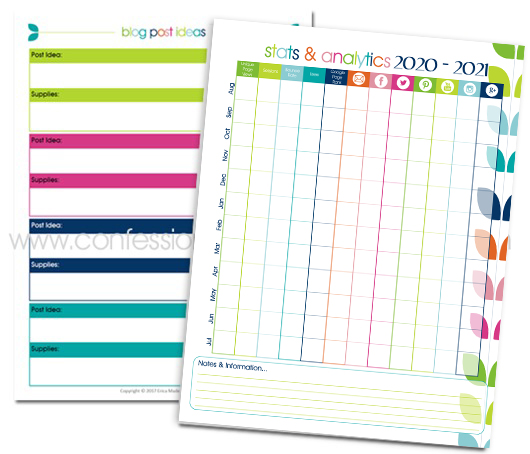 2020-21 Monthly Blog Planner