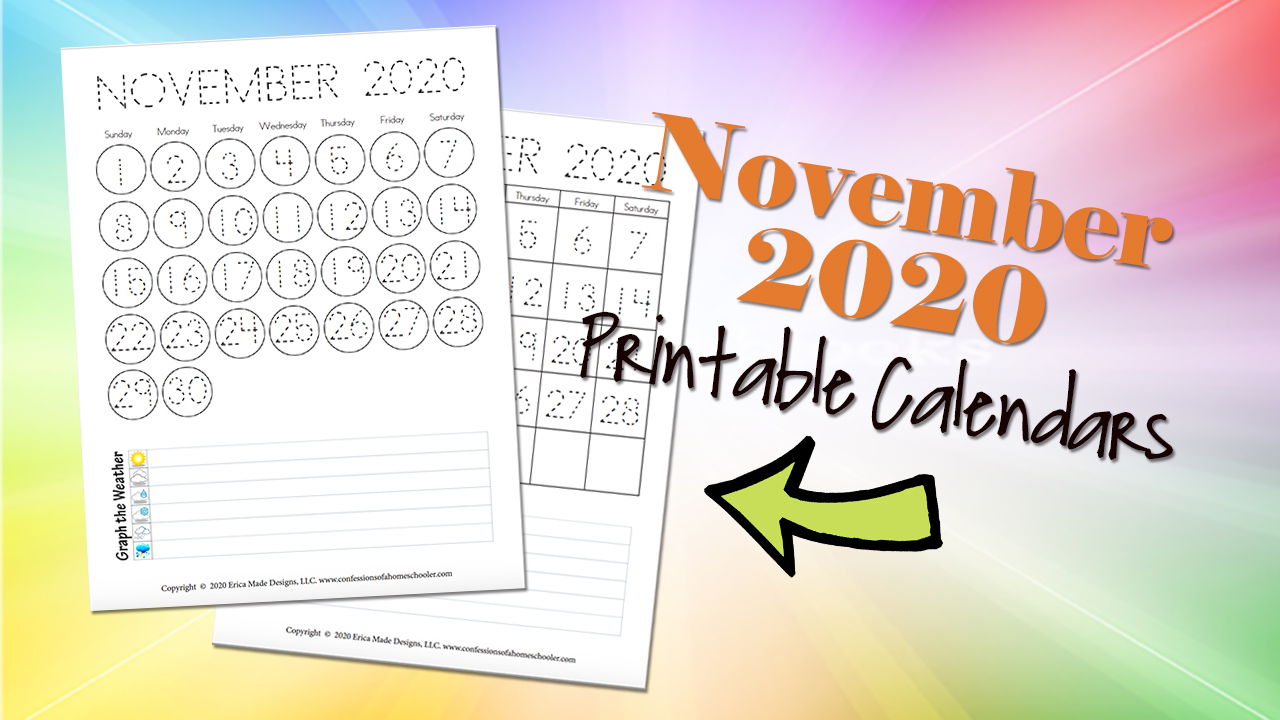 November 2020 Free Printable Calendars