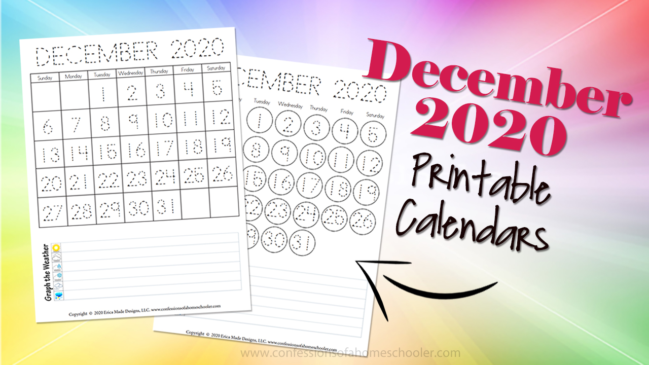 December 2020 Free Printable Calendars