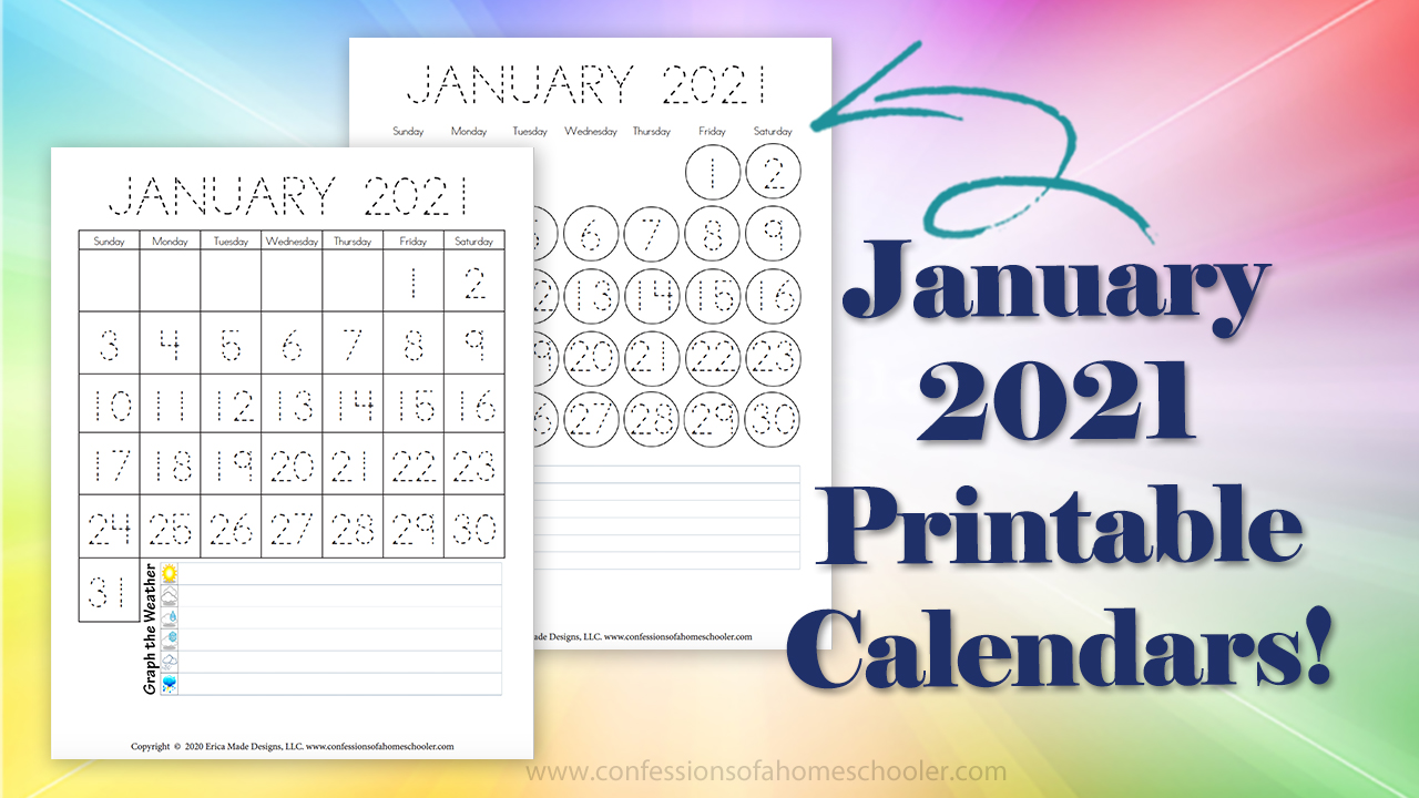 Printable Calendar With Lines To Write On 2021 January 2021 Printable Calendars   Confessions of a Homeschooler