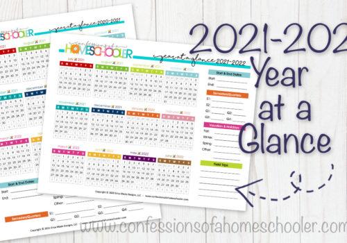2021-2022 Year-at-a-Glance Calendars